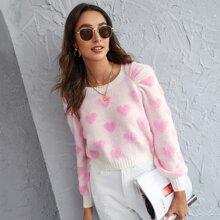 Pullover mit Herzen Muster und Raglanaermeln