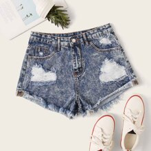 Shorts denim rotos bajo crudo
