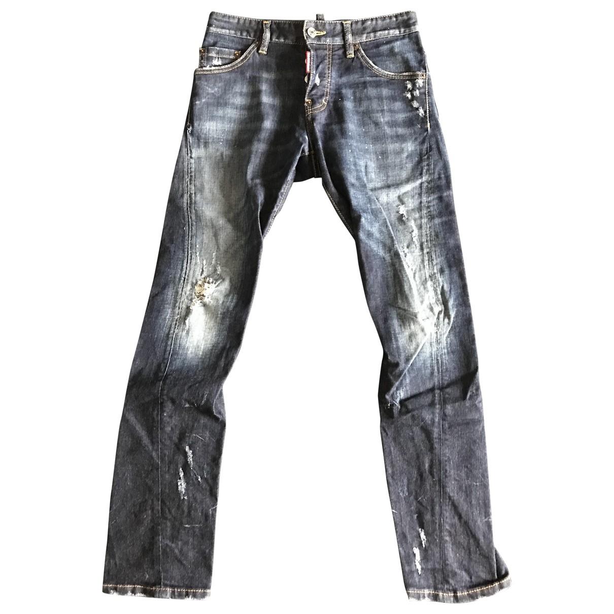 Dsquared2 \N Blue Cotton Trousers for Men 44 IT