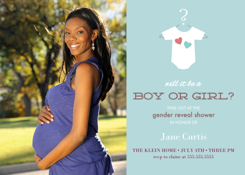Baby Shower Invitations Mail-for-Me Premium 5x7 Folded Card , Card & Stationery -Onesie Gender Reveal Party