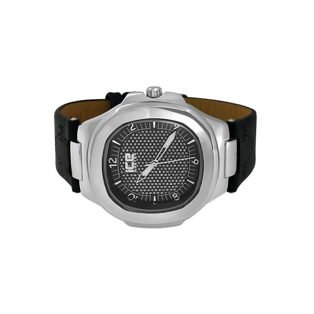 Modern Silver Fashion Watch Black Dial and Band