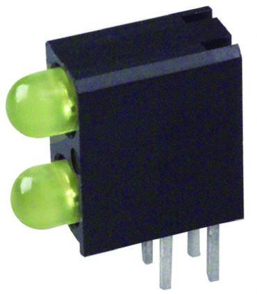 Dialight 553-0133-200F, Yellow Right Angle PCB LED Indicator, 2 LEDs, Through Hole 2.8 V