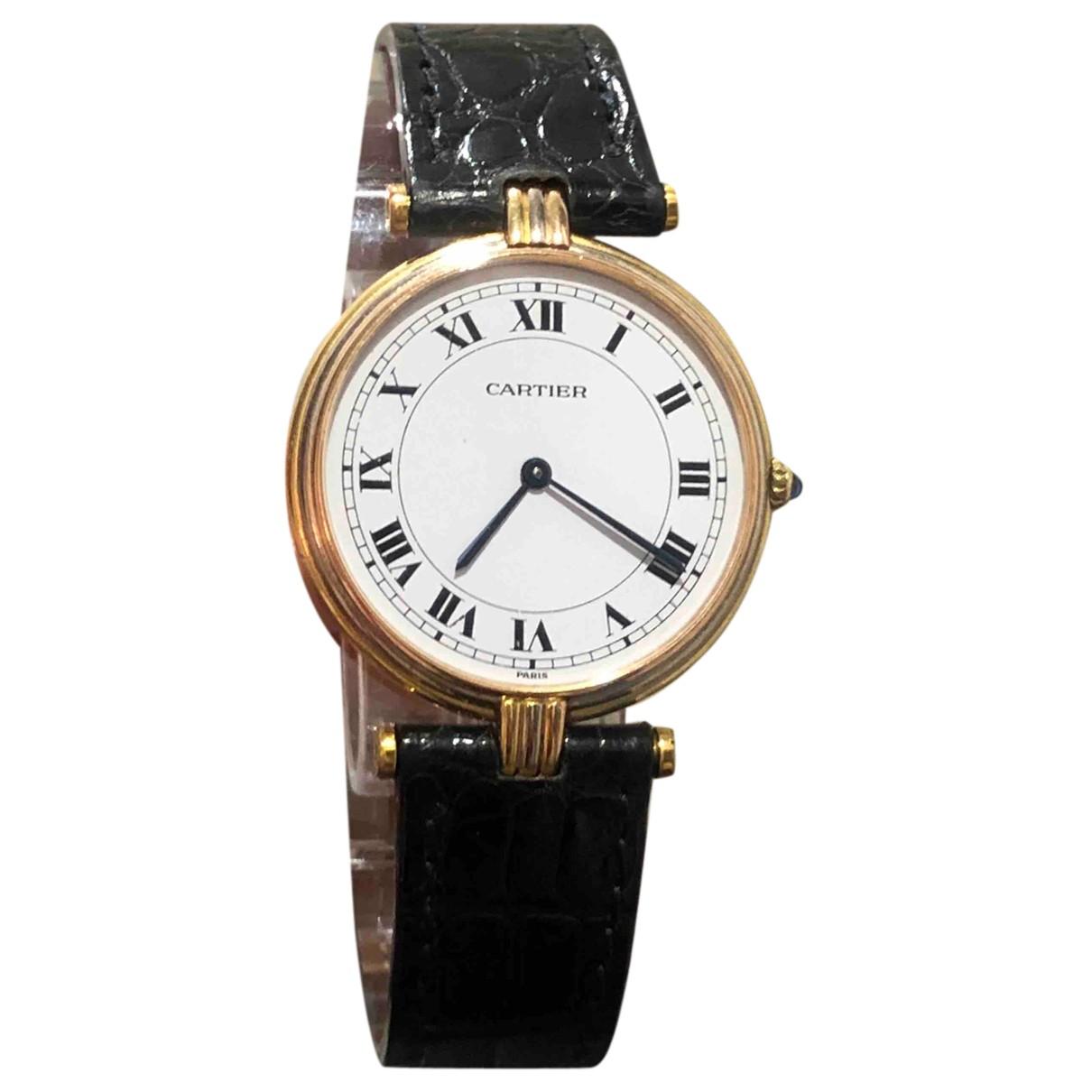 Cartier - Montre Must Vendome  pour femme en or blanc - noir