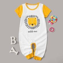 Baby Boy Cartoon & Letter Graphic Jumpsuit