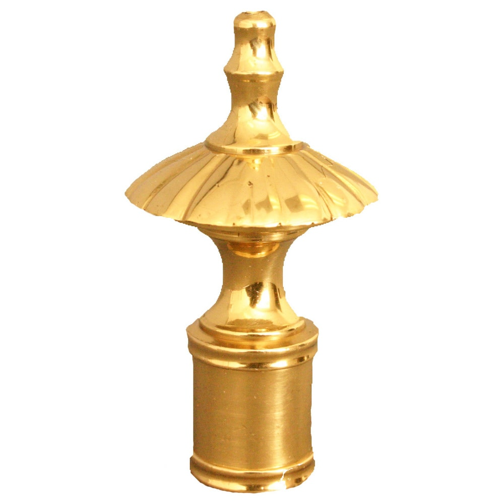 Royal Designs Umbrella Lamp Finial for Lamp Shade- Polished Brass (Set of 2)