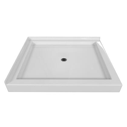 SBDT-4236-RT-BIS Double Threshold Biscuit Acrylic Center Drain Shower Base Right Hand