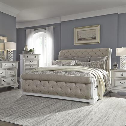Liberty Furniture 520-BR-KUSLDMCN 5 Piece Bedroom Set with King Size Upholstered Bed  Dresser and Mirror  Chest  Nightstand in Wire Brushed Antique