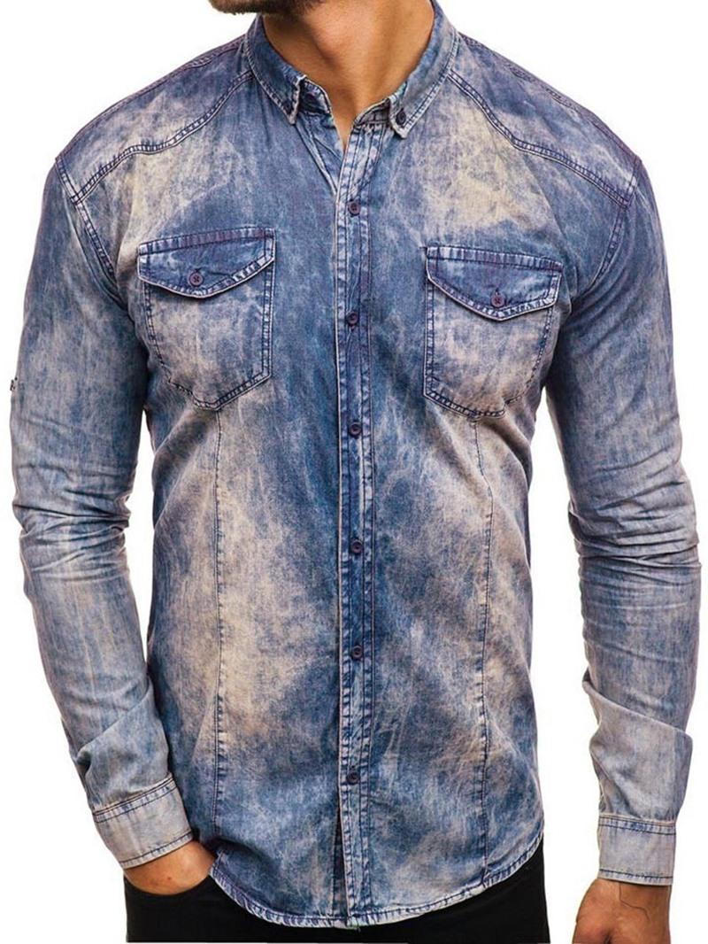 Ericdress Casual Plain Lapel Men's Spring Slim Shirt