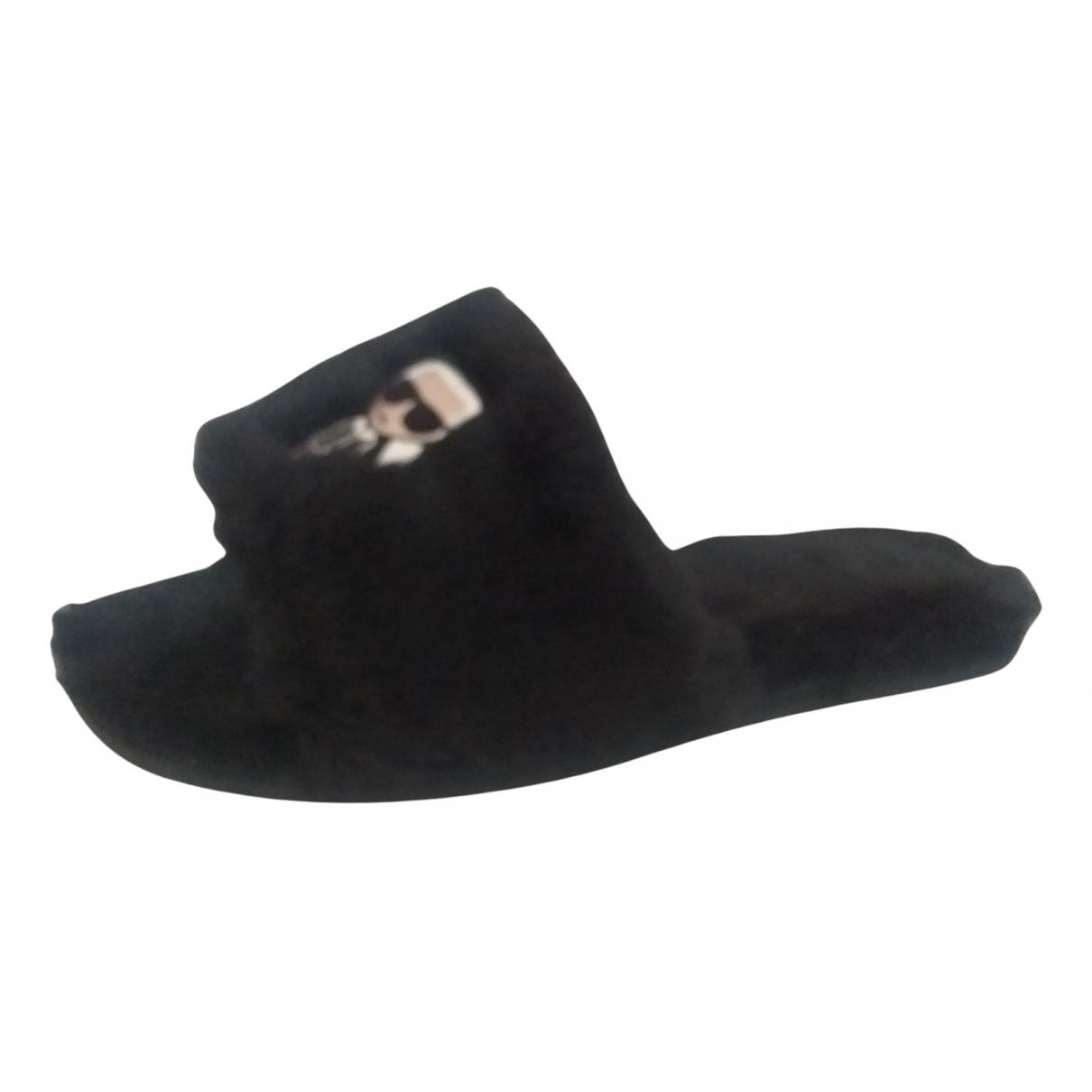 Karl Lagerfeld - Sandales   pour femme en fourrure synthetique - noir