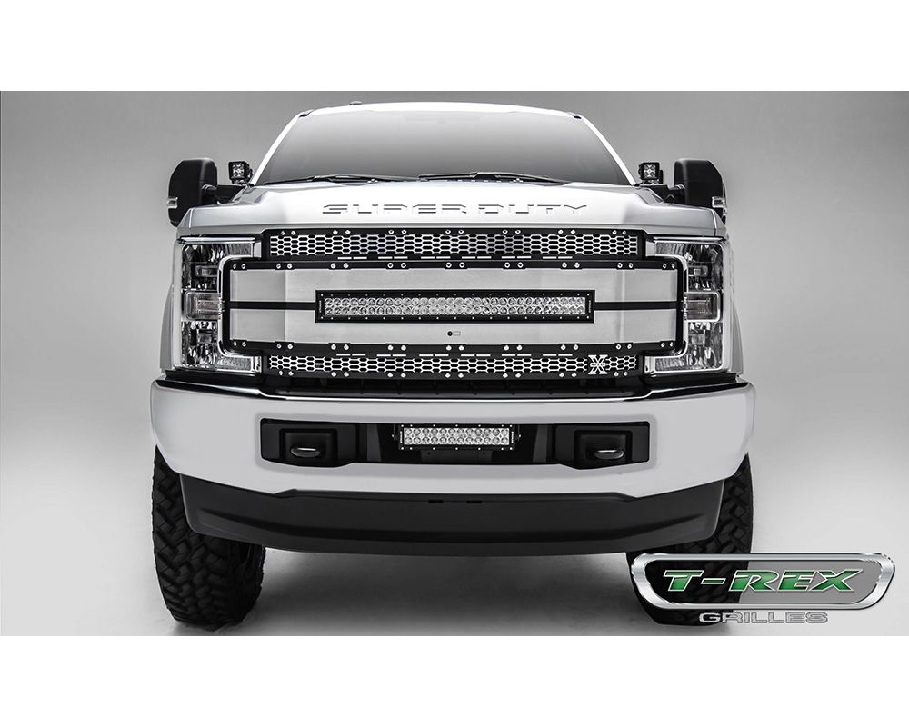 Torch AL Grille Brushed Mesh and Trim 1 Pc Chrome Studs Ford F-250 Superduty 2017-2019