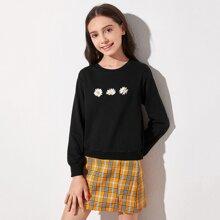 Pullover mit Gaensebluemchen Muster