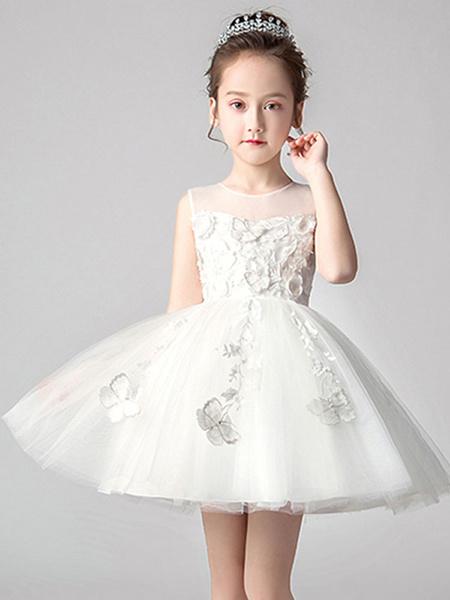 Milanoo Flower Girl Dresses Jewel Neck Sleeveless Bows Kids Social Party Dresses