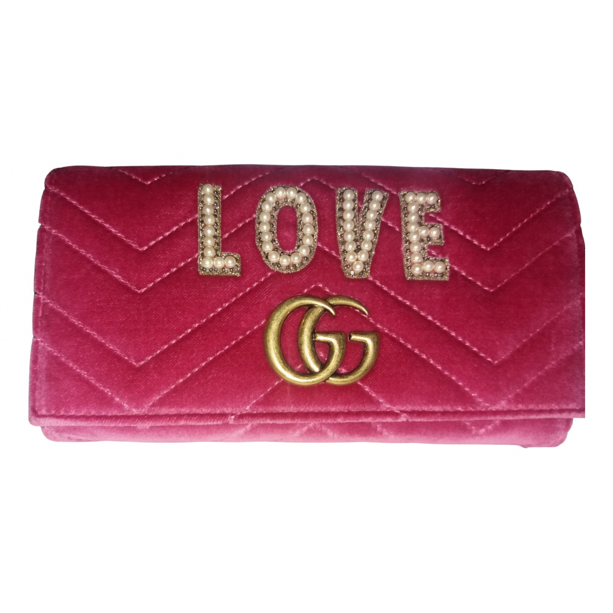 Gucci - Portefeuille Marmont pour femme en velours - rose