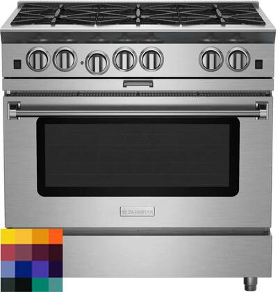 BSP366BCF 36 Platinum Series Freestanding Range with 6 Burners  Interchangeable Griddle Charbroiler  Full Motion Grates  Efficient PowR Oven and