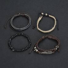 4pcs Bead & String Bracelet