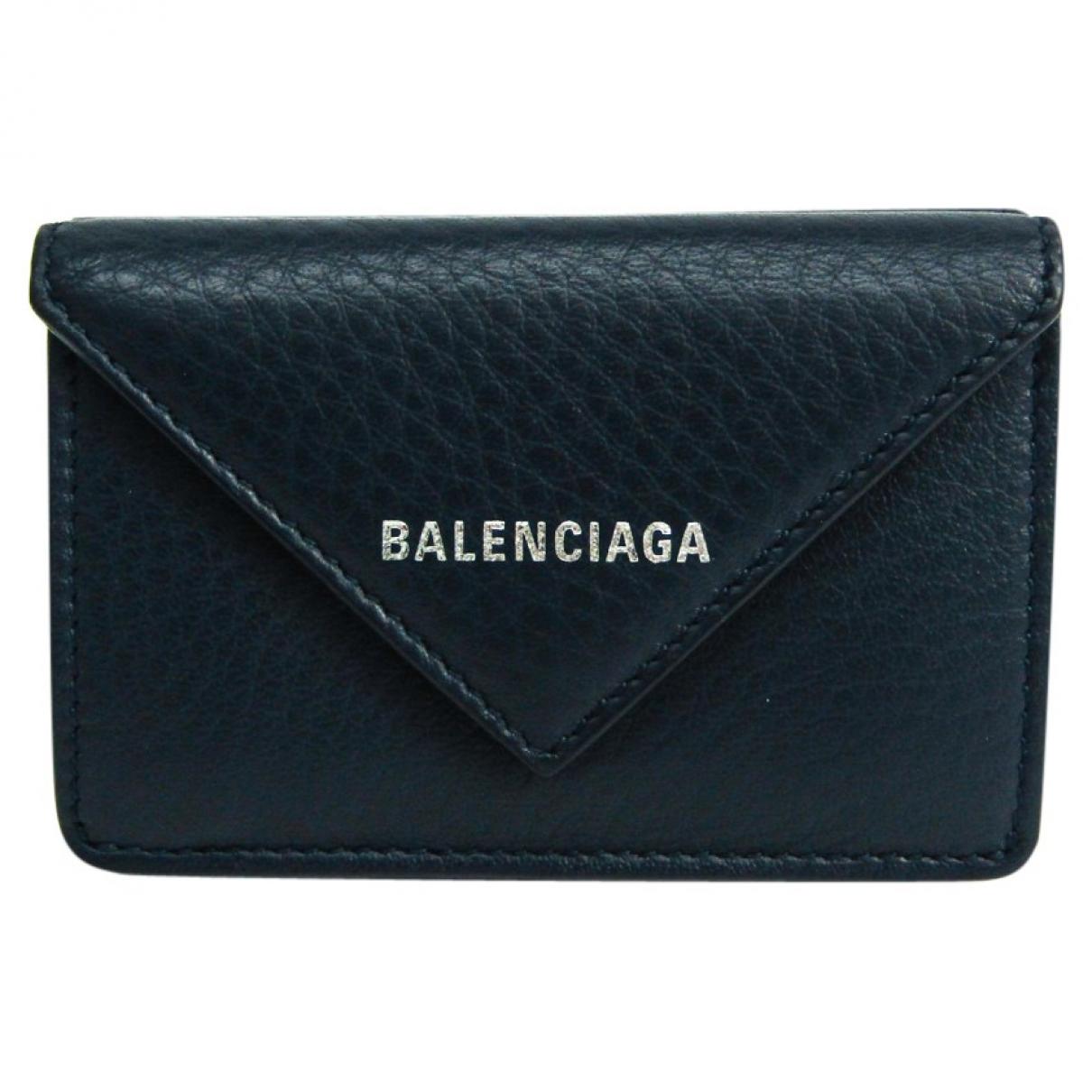 Balenciaga - Portefeuille   pour femme en cuir - marine