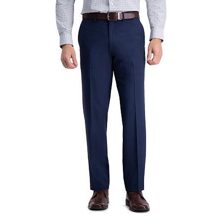 Haggar Premium Comfort Straight Fit Flat Front Dress Pant, 40 29, Blue