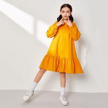 Girls Lantern Sleeve Ruffle Hem Sweatshirt Dress
