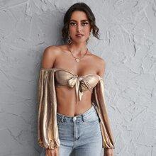 Tie Front Lantern Sleeve Metallic Bardot Top