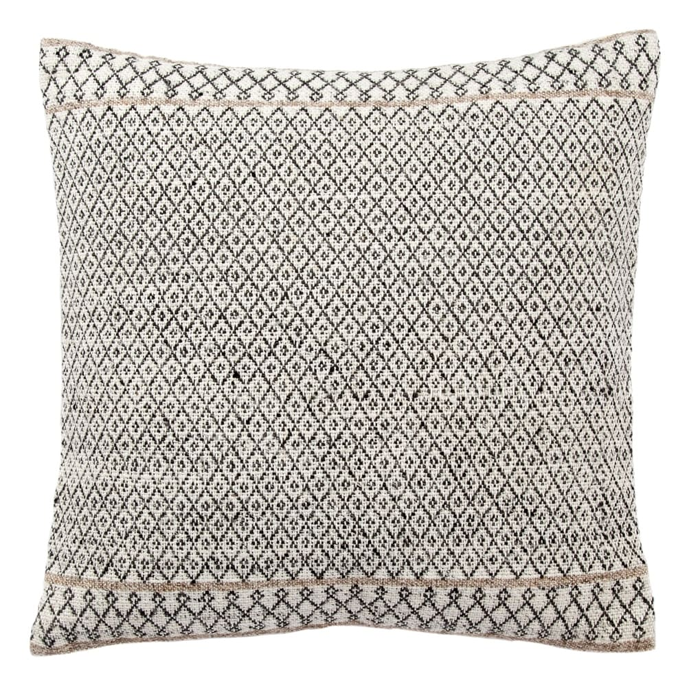 Tribal Pattern Ivory/Black Throw Pillow  18-inch (Down)