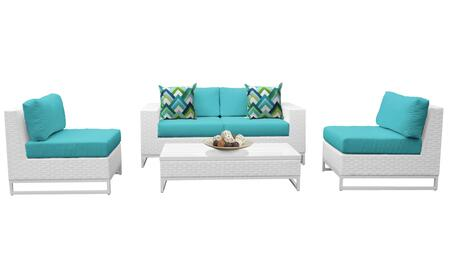 Miami MIAMI-05g-ARUBA 5-Piece Wicker Patio Furniture Set 05g with 2 Armless Chairs  Left Arm Chair  Right Arm Chair and Coffee Table - Sail White and