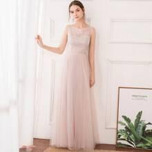 Sequin Bodice Mesh Maxi Prom Dress