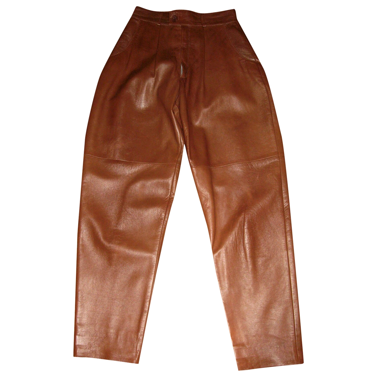 Non Signé / Unsigned \N Brown Leather Trousers for Women 40 IT