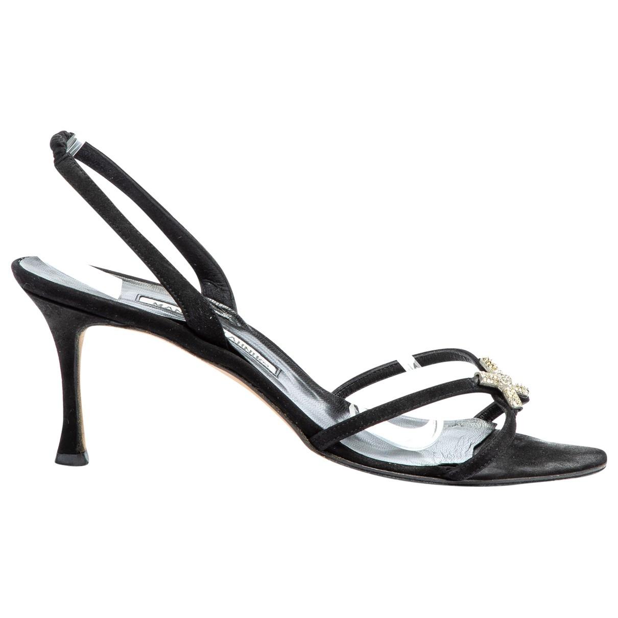 Manolo Blahnik \N Black Leather Sandals for Women 39 EU