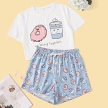 Pajama Set mit Karikatur und Buchstaben Muster