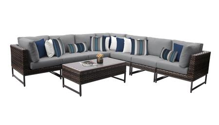 Barcelona BARCELONA-08a-BRN-GREY 8-Piece Patio Set 08a with 3 Corner Chairs  4 Armless Chairs and 1 Coffee Table - Beige and Grey Covers with Brown