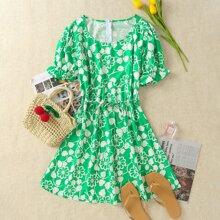 Mini Kleid mit Blumen Muster, Band vorn und Puffaermeln