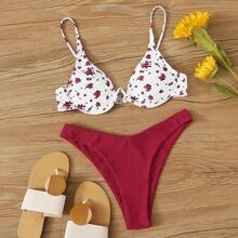 Bikini cortado alto top floral con aro