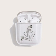 1pc Line Drawing Pattern AirPods Case