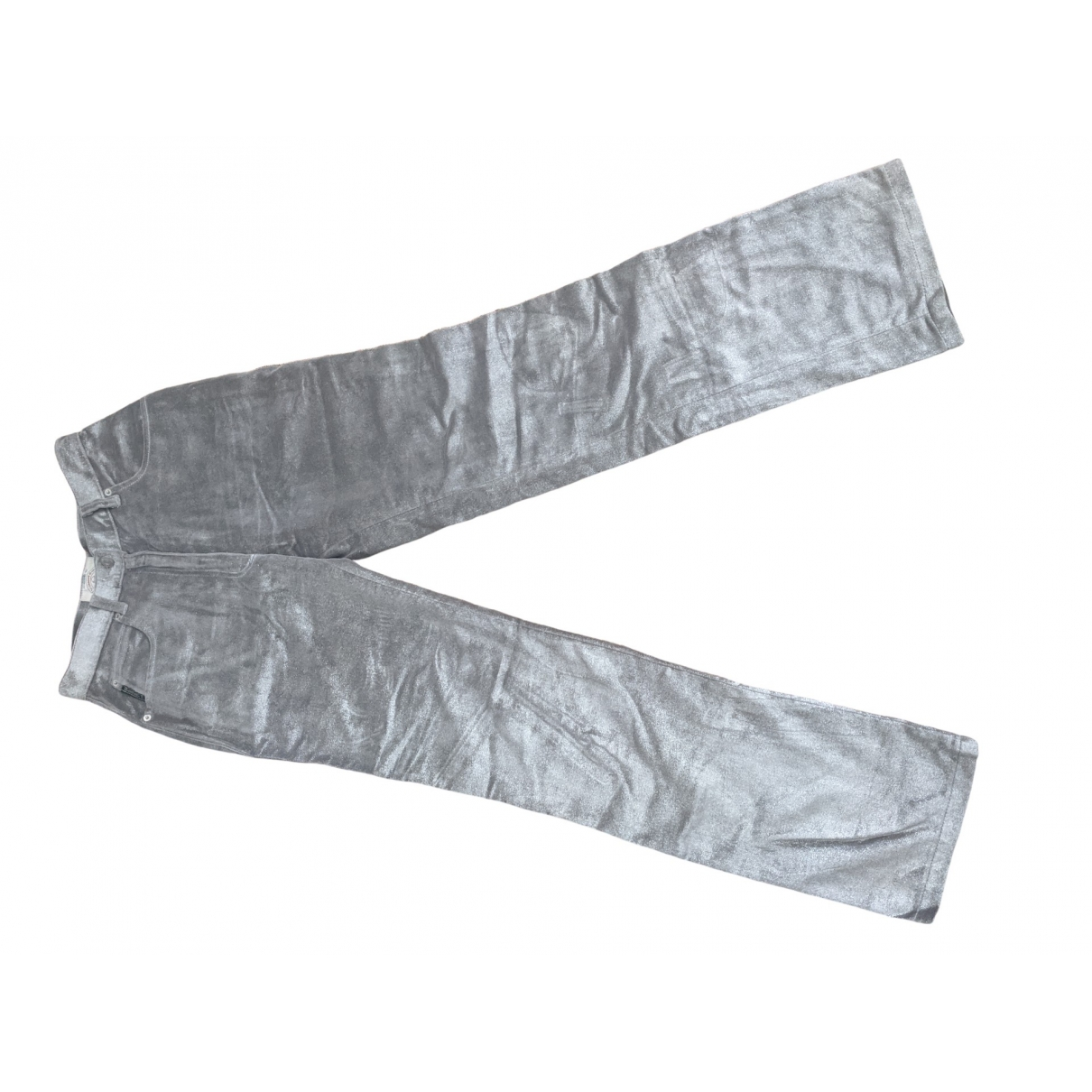 Armani Jeans \N Silver Cotton Trousers for Women 38 FR