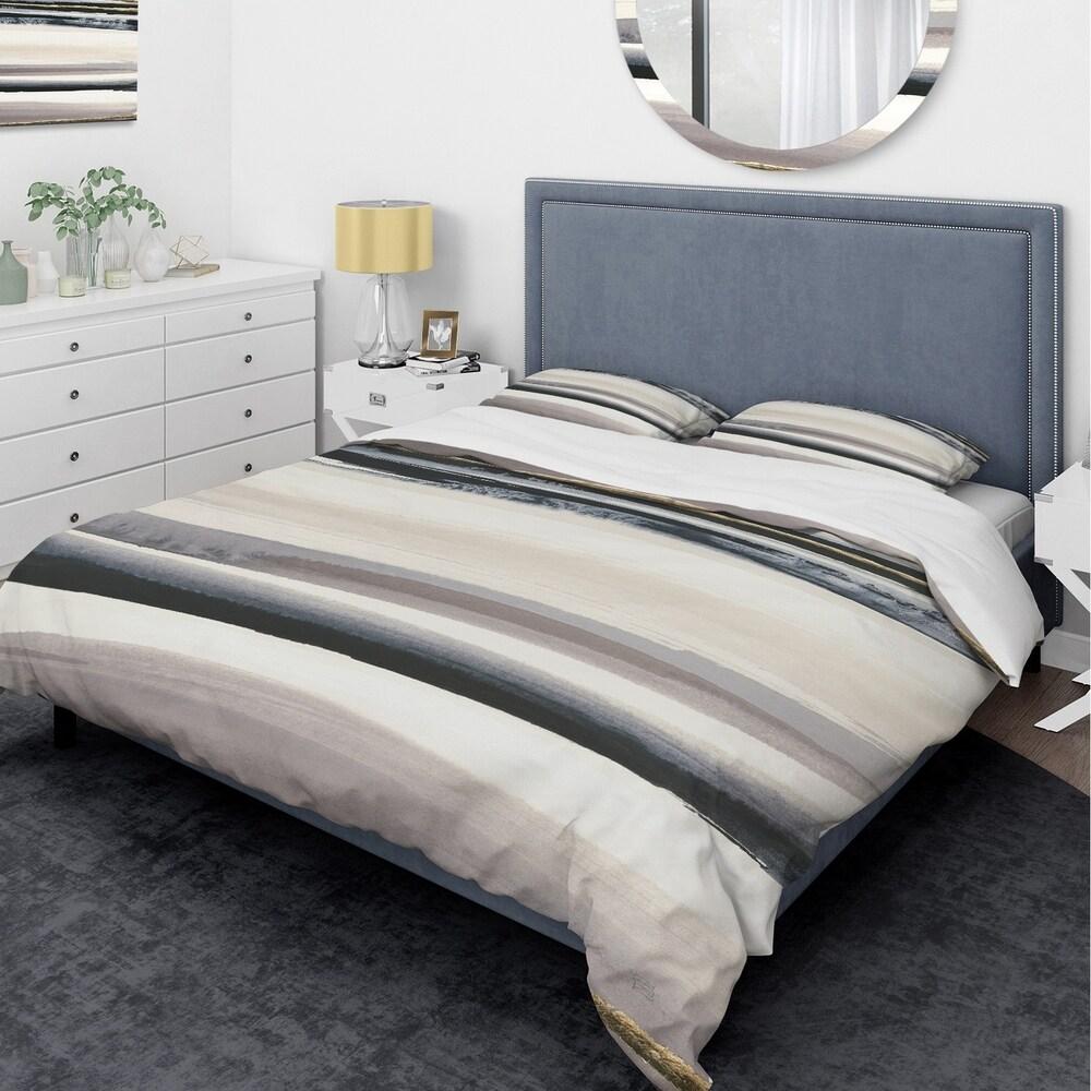 Designart 'Gold Watercolor Amethyst II' Glam Bedding Set - Duvet Cover & Shams (Twin Cover + 1 sham (comforter not included))
