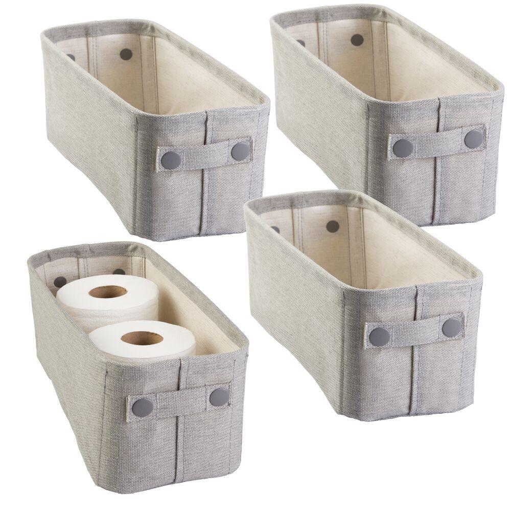 mDesign Small Fabric Bathroom Storage Bin with Coated Interior in Light Gray, 15
