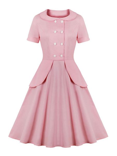Milanoo Vestido vintage Collar de Peter Pan de los años 50 Botones rosados Manga corta en capas Vestido largo hasta la rodilla