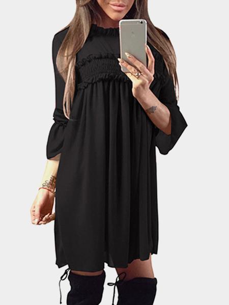 Yoins Black Ruffle Trim Crew Neck Flared Sleeves High-Waisted Chiffon Dress