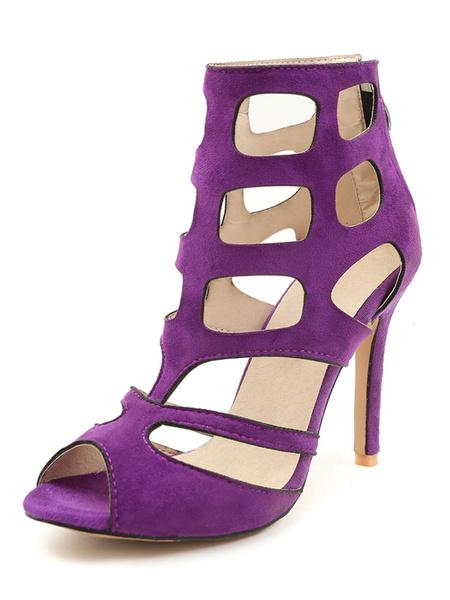 Milanoo Black Gladiator Sandals Women Peep Toe Cut Out High Heel Sandals