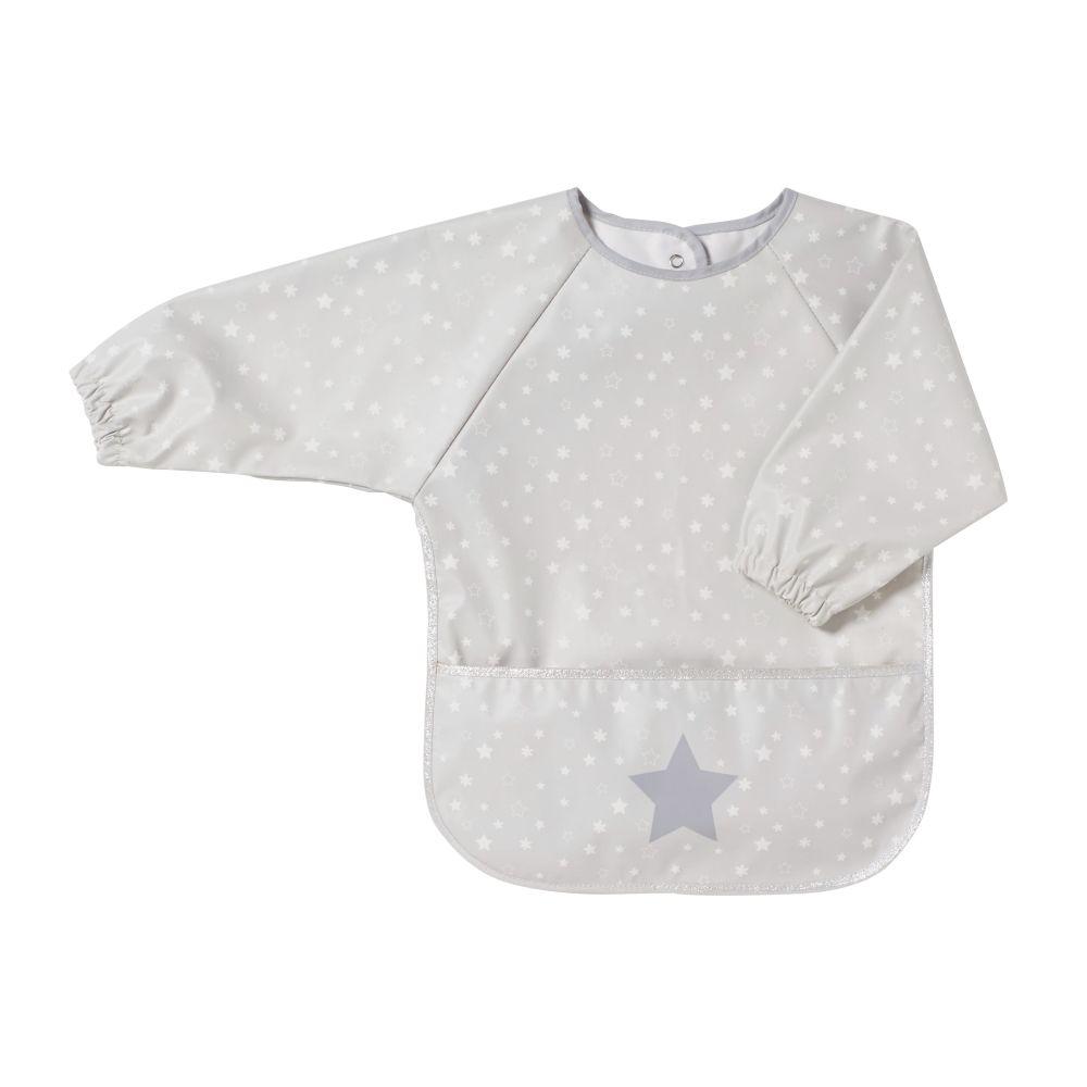 Babyschuerze, beschichtet, weiss mit grauem Sternenmuster