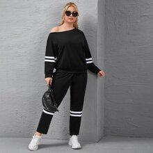 Sweatshirt mit asymmetrischem Kragen, Streifen & Jogginghose