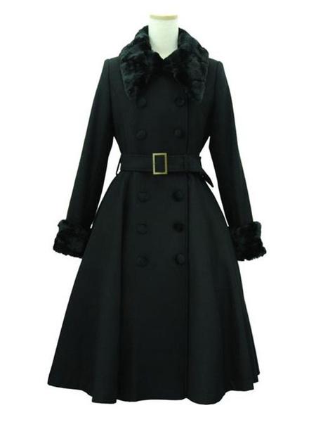 Milanoo Classic Lolita Coats Black Coat Belted Furry Collar Overcoat Winter Lolita Outwears