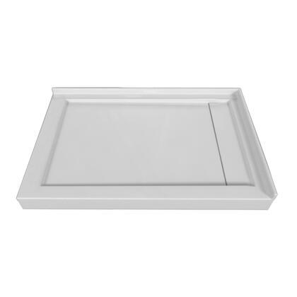 SBLDDT-4832R-LT-WHT Double Threshold White Acrylic Linear Drain Shower Base Left Hand