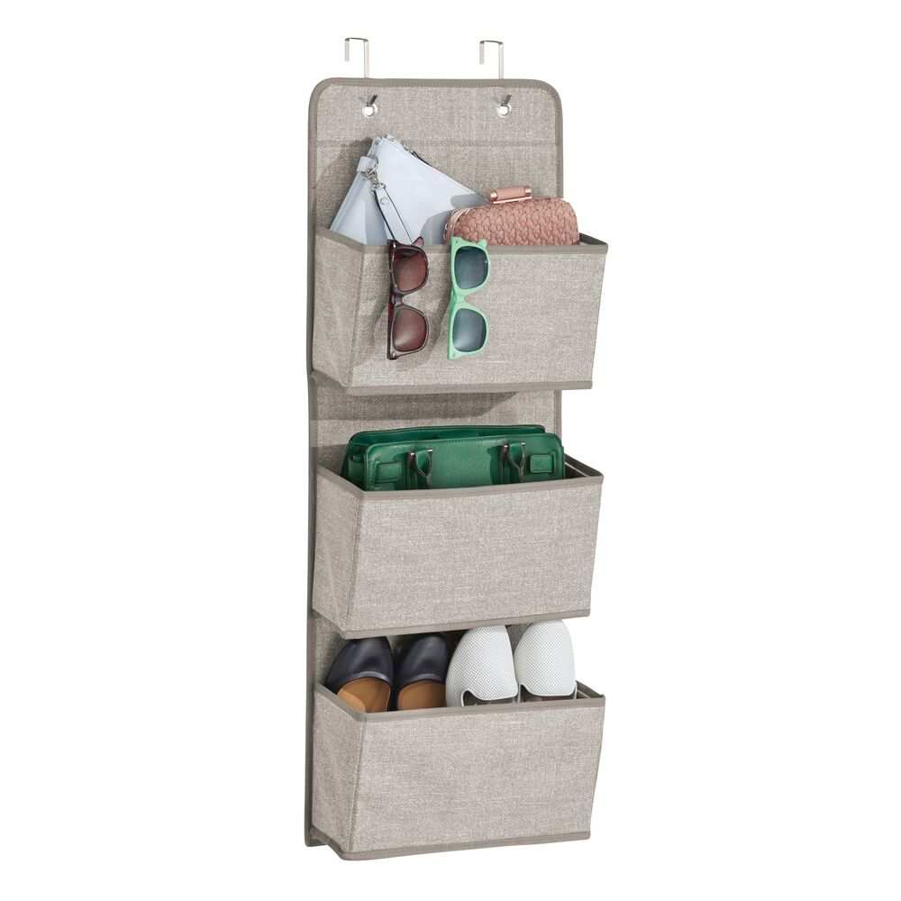 3 Pocket Over Door Fabric Hanging Closet Organizer in Linen, 4.5 x 13 x 36, by mDesign
