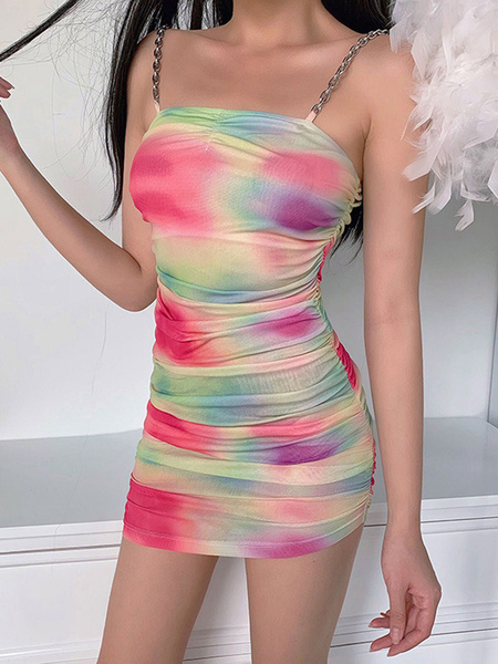 Milanoo Vestidos ajustados sexys Correas sin mangas rosadas Cuello Slim Fit Vestido corto