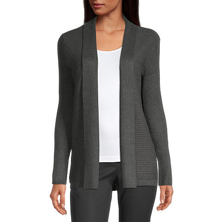 Liz Claiborne Womens Ribbed Open Cardigan, Small , Gray
