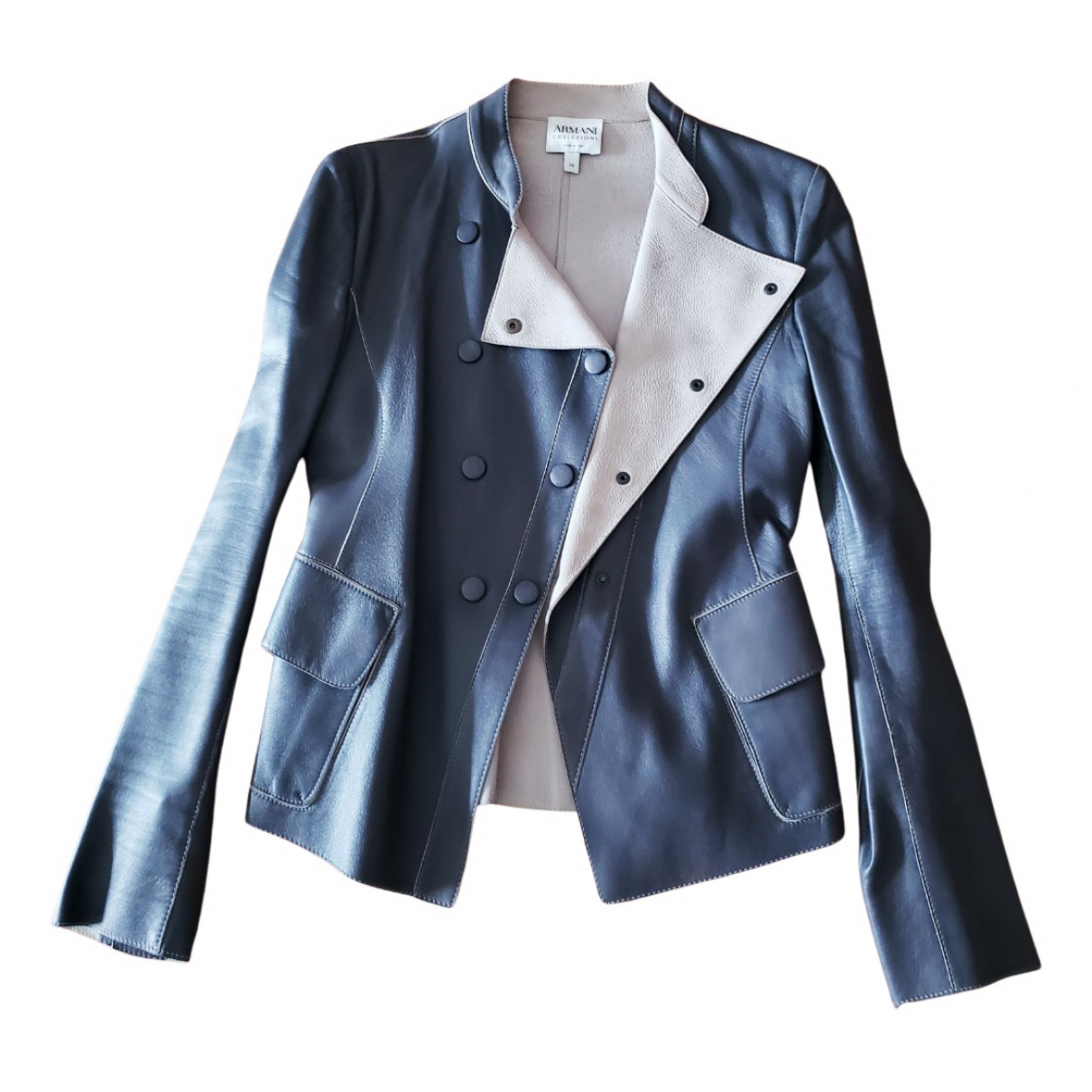 Armani Collezioni N Grey Leather Leather jacket for Women 38 IT