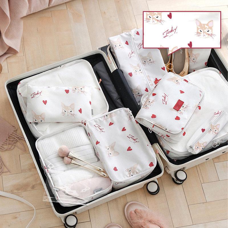 Cat Pattern 11-Piece Set Travel Storage Bag Portable Suit Underwear Panties Bag Luggage Suitcase