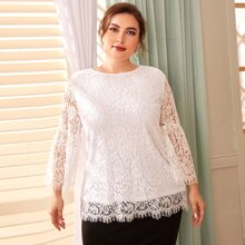Plus Keyhole Back Lace Top