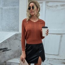 V-neck Batwing Sleeve Solid Sweater